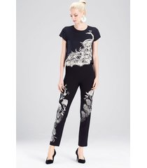 knit crepe pants with peacock embroidery, women's, black, size 8, josie natori