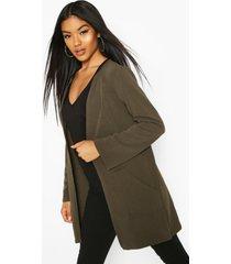 collarless pocket detail duster jacket, khaki