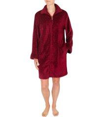 miss elaine short fleece zipper robe