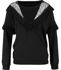 superstrash zwart stevig soepel polyester stretch oversized blouse met sweater boorden