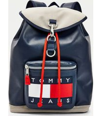 tommy hilfiger men's recycled leather flap backpack navy -