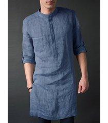 incerun hombres india kurta lino liso soporte collar midi longitud camisa