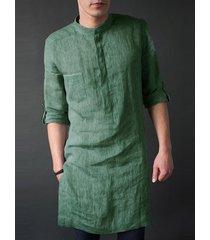 incerun hombre india kurta lino liso cuello alto midi longitud camisa