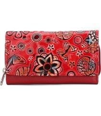 billetera grande a055 cuero tala flores rojo