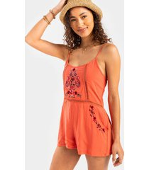 carmeleta embroidered romper - rust