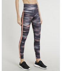 calça legging feminina esportiva ace estampada com proteção uv50+ preta