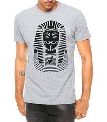 camiseta criativa urbana nerd geek anonymous faraó manga curta - masculino