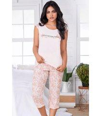 pijama mujer conjunto capri manga corta 11551