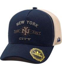 boné overking aba curva trucker new york city azul bege