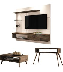 painel tv ores com mesa de centro lucy e aparador quad deck/off white - hb móveis