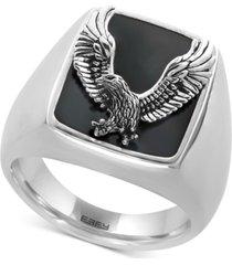 effy men's onyx (16-3/4 x 13-1/2mm) eagle ring in sterling silver