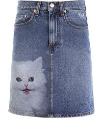 msgm denim mini skirt with cat print