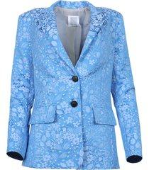 floral jacquard blazer, blue