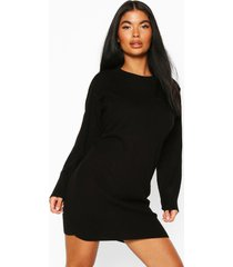 petite knitted rib roll neck sweater dress, black