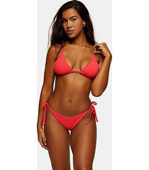 red crinkle high rise tie bikini bottoms - red