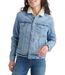 women's lucky brand tomboy faux shearling lined trucker jacket, size x-small - blue