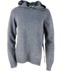 anna molinari wool blend sweater with hood and side slits