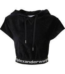 alexander wang stretch corduroy cap sleeve hoodie w/logo elastic