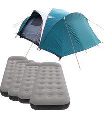 barraca camping nautika laredo até 9 pessoas + 4 colchões solteiro inflável star aveludado