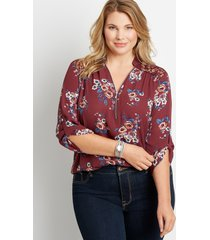 maurices plus size womens berry floral zipper front lace back blouse red