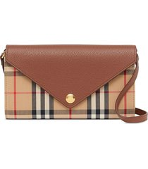 burberry check print wallet - brown