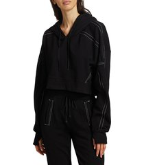 blanc noir women's yolo topstitched cropped hoodie - white - size m