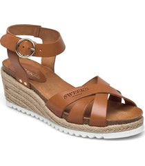 selma sandalette med klack espadrilles brun sweeks