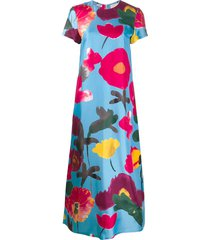 la doublej swing floral print dress - blue