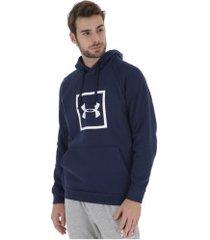 blusão de moletom com capuz under armour hoodie - masculino - azul escuro
