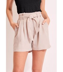 yoins beige cinturón diseño shorts de amarre