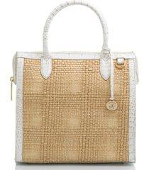 brahmin caroline sol straw & embossed leather satchel