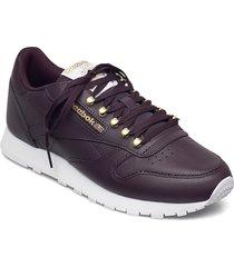 cl lthr låga sneakers röd reebok classics