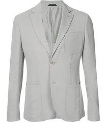 giorgio armani ribbed knit blazer jacket - grey