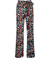 fire flower in punto milano jersey slit pants