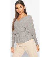 batwing wrap front slouchy sweater, grey