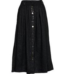 light linen knälång kjol svart ganni