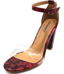 sandalia roja animal print gotta