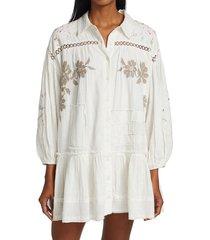 free people women's louisa patchwork dress - ivory - size xl