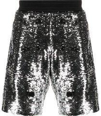 golden goose cameron sequined shorts - silver