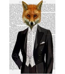 """fab funky fox in evening suit, portrait book page canvas art - 15.5"""" x 21"""""""