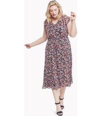tommy hilfiger women's essential curve floral ruffle dress sky captain / grenadine - 14w