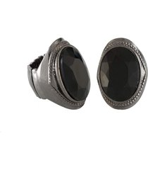 anel armazem rr bijoux oval pedra preta grafite