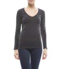 claesens ladies v neck t-shirts l/s blue