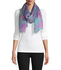 la fiorentina women's geometric silk scarf - black brown