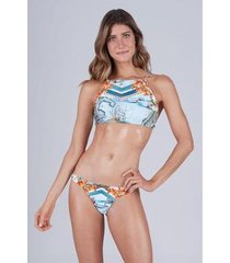 biquíni new beach trilobal halter top cropped localizado amalfi feminino - feminino