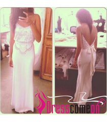 sexy spaghetti strap dress,mermaid white beach wedding dress/bridal gown ba31