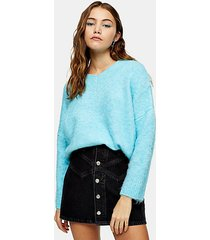 blue brushed longline knitted sweater - blue