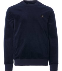 fred perry woven cord sweatshirt | navy | m1634-608