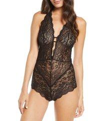 women's honeydew intimates cassandra lace bodysuit, size large - black