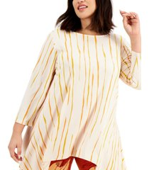 alfani plus size striped high-low hem top, created for macy's